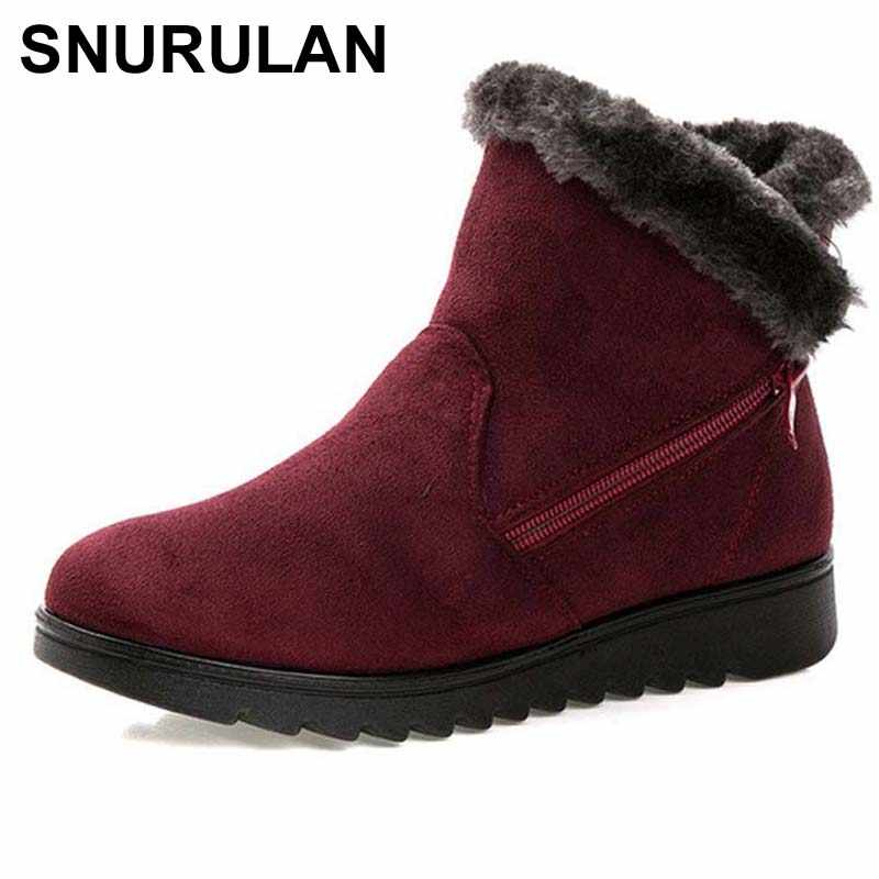 SNURULAN ผู้หญิงรองเท้าบู๊ทหิมะอบอุ่นสั้นขนสัตว์ฤดูหนาวข้อเท้า Plus ขนาดสุภาพสตรีหนังนิ่มซิปหญิงสบาย e011