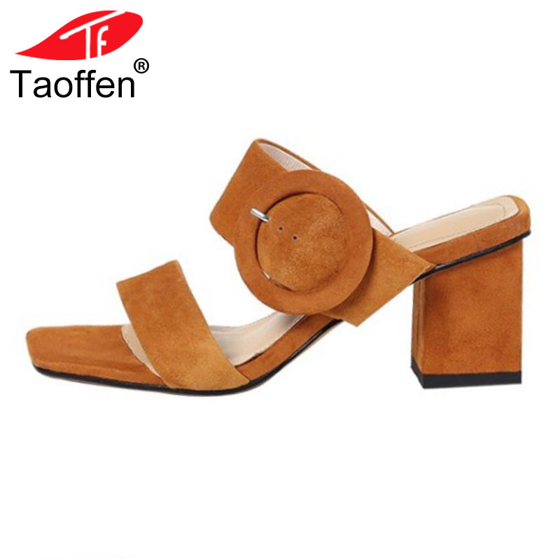 TAOFFEN Women High Heel Sandals Genuine Leather Thick Heel Open Toe Ladies Summer Shoes Elegant Sandals Footwear Size 34-39 taoffen women high heels sandals real leather peep toe shoes women buckle clear thick heel sandals daily footwear size 34 39