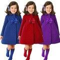 2015 new fashion girls wool winter coats clothing long sleeve flower side bowknot decoration fancy girl dress coat