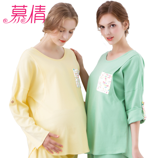 muqian Maternity Clothes cotton prenatal postpartum breastfeeding hamile pijama sleepwear pregnancy fromwind and keep warm