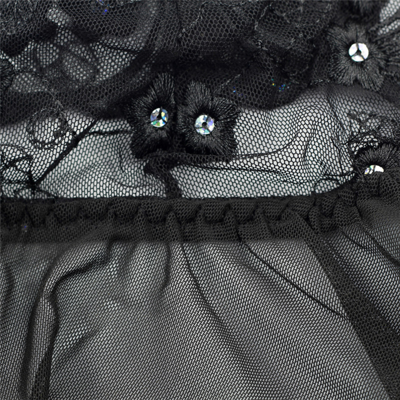 S M L XL XXL 3XL 4XL 5XL 6XL Plus Size Sexy Lingerie How Women Black Embroidery Babydolls Transparent Dress Porno Costumes (13)