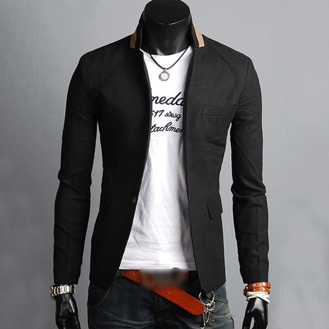 8583bf957cc1f Chaquetas hombres chaqueta informal traje formal un botón cuello negocios  hombre abrigo chaqueta abrigo Tops algodón