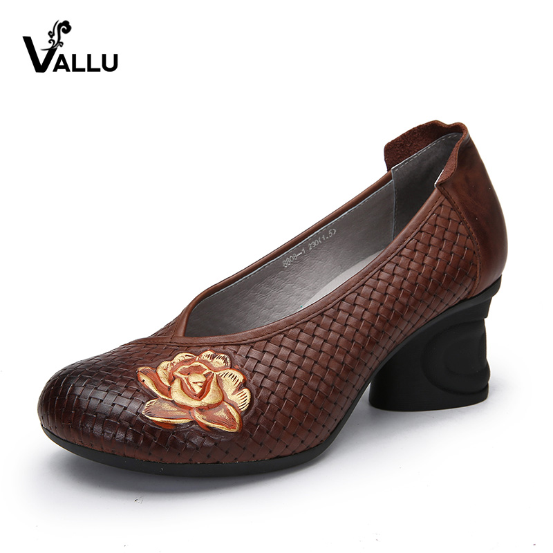 Flower High Heel Shoes Woman 2018 Natural Leather Pumps Block Heel Woven Female Round Toe Heeled Shoes Vintage Style цены онлайн