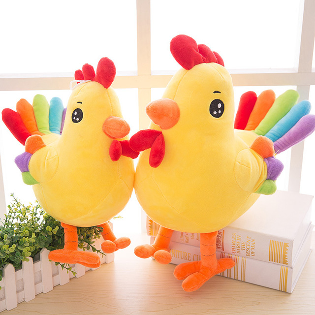 Candice guo! new plush toy super cute rainbow tail chicken 2017 Chinese Zodiac Rooster lucky mascot chick doll birthday gift 1pc