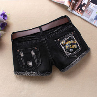 Autumn And Winter Ms Han Edition Hole Loose Black Denim Shorts Female Boots Pants Big Yards