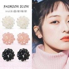 Crystal Zircon Stud Earrings Cute for Women Korean Fashion Jewelry Flower Ball Christmas Gift