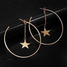 Простые серьги-кольца для женщин, полые круглые серьги с украшением в виде звезды, серьги золотого цвета, ювелирные изделия для ушей