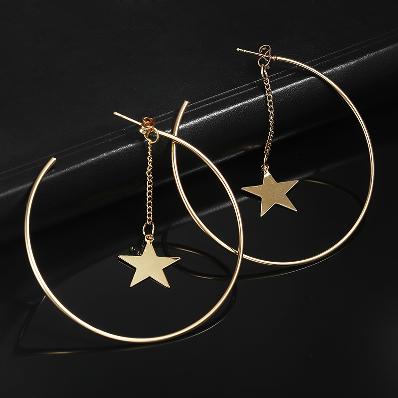 Simple Hoop Earrings For Women Hollow Round Circle Earrings With Star Decorated Earrings Golden Color Ear Jewelry Wholesale