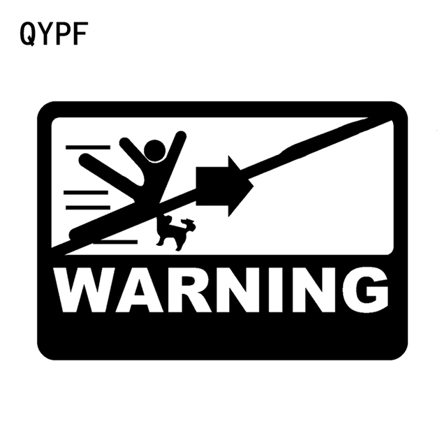 Qypf 15 5cm10 9cm warning be careful of dangerous graphic car sticker black silver