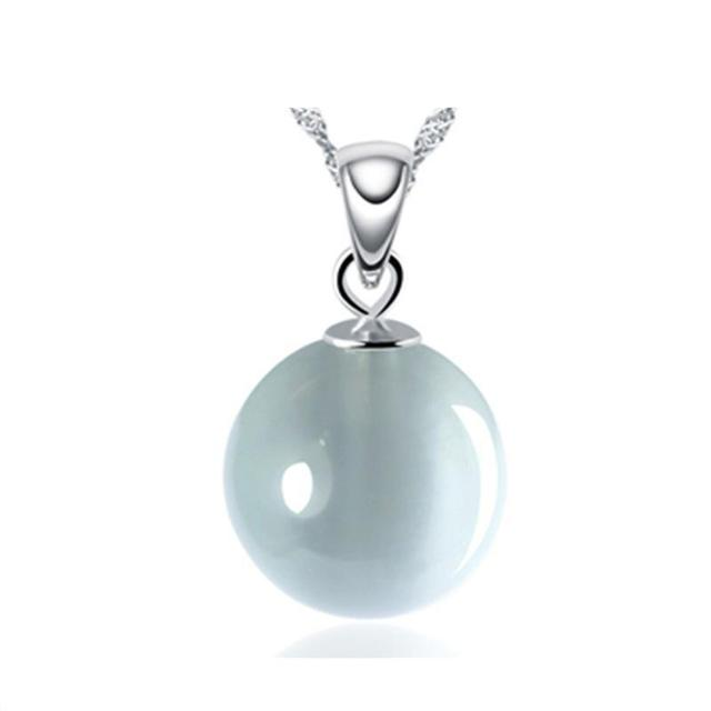 Cat's Eye Pendant 925 Sterling Silver Round Natural Stone Pendant For Women Korean Charm Necklace Fashion Jewelry