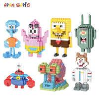 Bloques de construcción modelo serie SpongeBobs juguetes de dibujos animados figuras de Anime ensamblado Mini ladrillo juguetes educativos para niños regalos