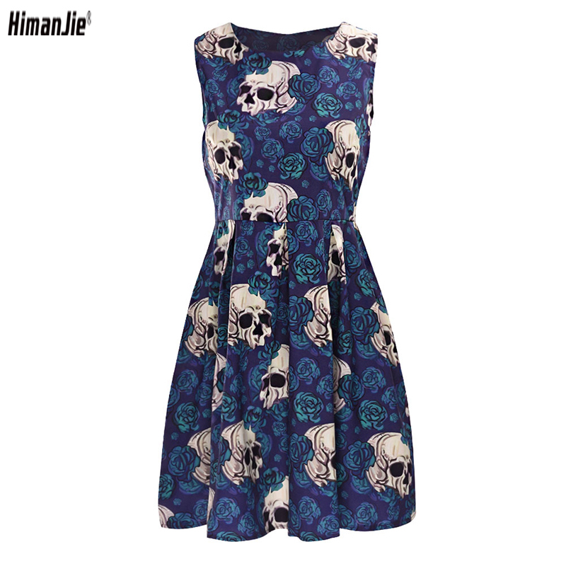 2018 Summer Skull Roses Party Dress for Female Rockabilly Vintage Retro Hepburn 50's 60s Women's Dresses Clothes