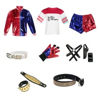 Suicide Squad Harley Quinn Cosplay Costume T Shirt Top Jacket Pants Wrist guards Collar Belt Glove Accessories Full Set