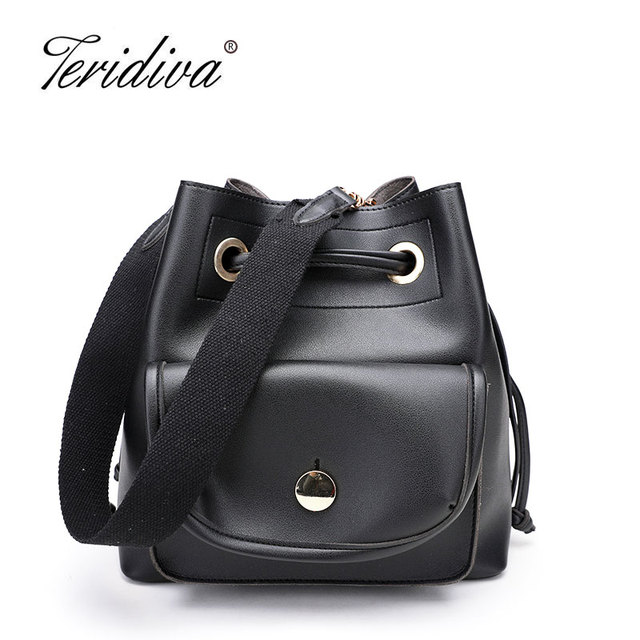 Fashion Solid Bucket Bag Women Leather Handbag 2018 Casual Drawstring Shoulder Bags Small Top Handle