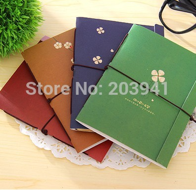 1pcs/lot New Cute Vintage Clover Notebook DIY Diary  Journal