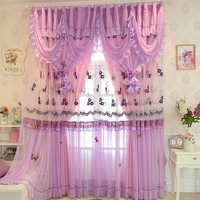 Customize Europe Embroidered Blackout Curtain Polyester Purple Lace Floral Double Layer Tulle Curtain Wedding Bedroom Decoration