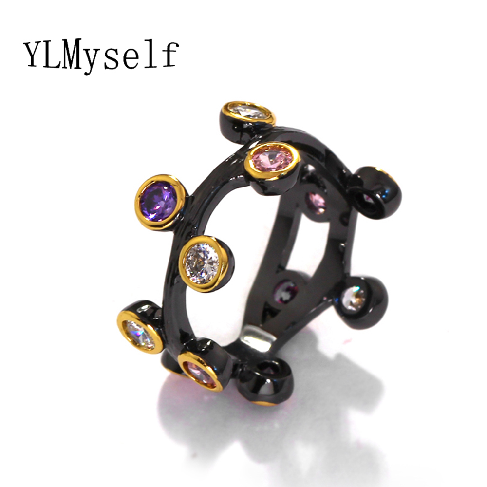 Black rings jewelry pave Multi coloful round cubic zirconia crystal Original Design anel atacado fashion finger ring for women