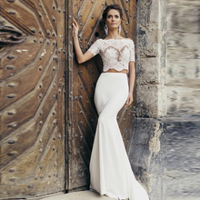 Vintage Two Pieces Summer Mermaid Wedding Dresses 2017 Half Sleeve Lace O-Neck Long Beach Wedding Gowns With Bow Women IIIusion