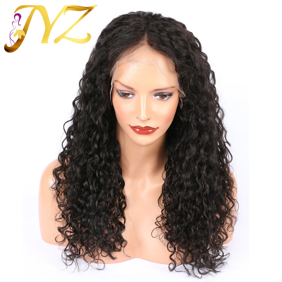 JYZ Curly Lace Front Human Hair Wigs For Women Pre Plucked Lace Front Wigs 13*4 Bleached Knots With Baby Hair Full End
