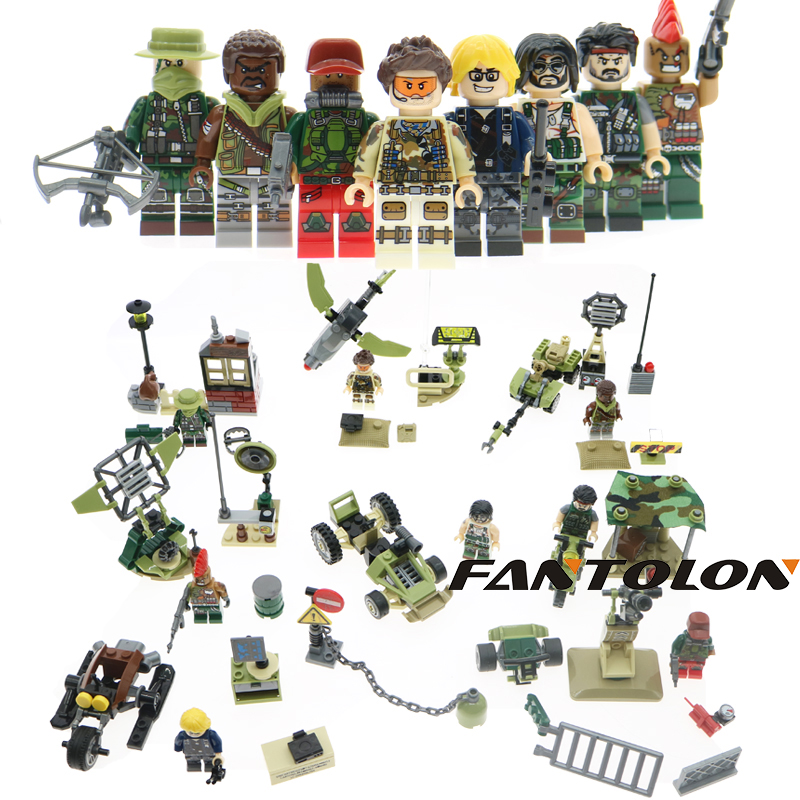 Military Army WW2 Soldier Weapon Swat Team Project Black Gold  Mini Building Blocks Bricks  8 Figures Toys For Boys Gift military city police swat team army soldiers with weapons ww2 building blocks toys for children gift