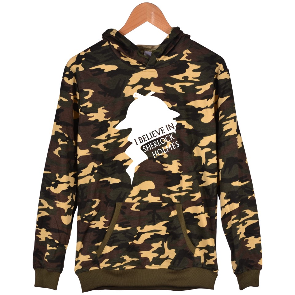 Sher Locked Camouflage Plus Size And Harajuku Sweatshirt With Cap New Women Hoodies 221B Sherlock XXS TO 4XL Battle Fatigues
