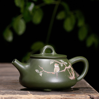 Free Shipping 260ML Rare Green Clay Handmade painted Teapot High Grade tea gift Yixing Famous Kung Fu Zisha Tea Pot
