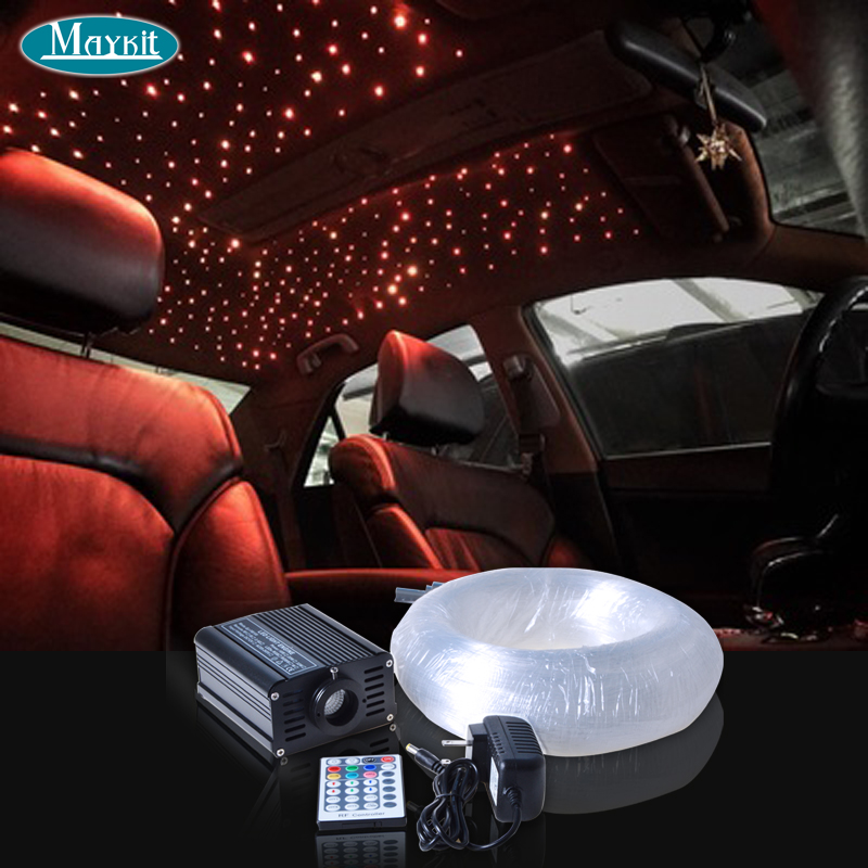Maykit Fiberoptics On Saloon Car 16w Rgbw Led Light Emitter 0.75mm Sticker 200 Point Optical Fiber Cable For Sedan Roof Star Use
