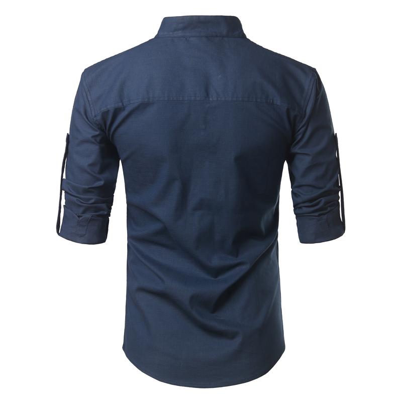 Tunique col Mao bleu marine, manches longues, avec poche, vue arrière