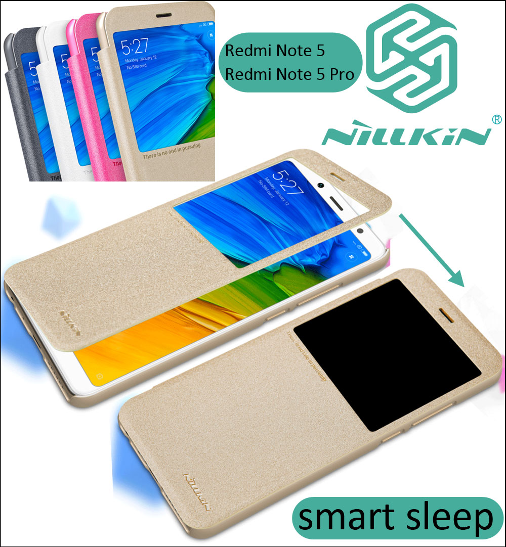 brand new 33481 a373e US $7.91  Nillkin Sparkle PU Leather Case For Xiaomi Redmi Note 5 Pro Note5  Smart Sleep Window Flip Cover-in Flip Cases from Cellphones & ...
