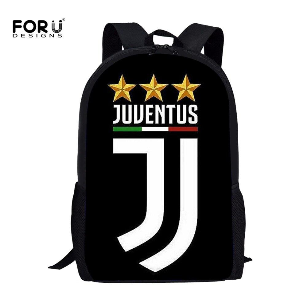 FORUDESIGNS moda Juventus 3D impreso niños bolsas de escuela Casual estudiantes de la escuela primaria mochilas grandes mochilas