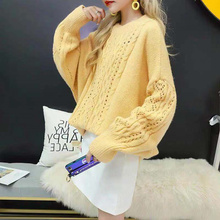 2019 Hollow Out Korean Style Loose Lazy Wind Twist Sweater Small Fresh Avocado green New C97705D