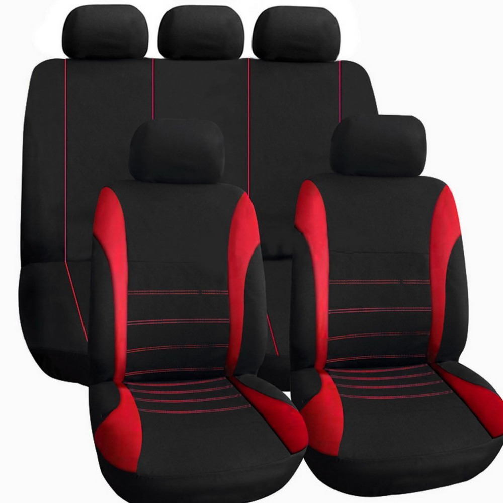 Universal car seat cover 11pieces set black red blue gray full seat
