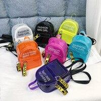 Женский прозрачный рюкзак для ребенка маленький мини-рюкзак ПВХ прозрачный Желейный рюкзак с буквенным принтом Студенческая сумка через п...