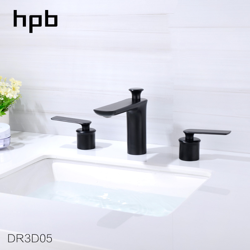 HPB Commercial Solid Brass  8 inch Widespread Bathroom Faucet Lavatory Basin Sink Tap Lacquered Black DR3D05