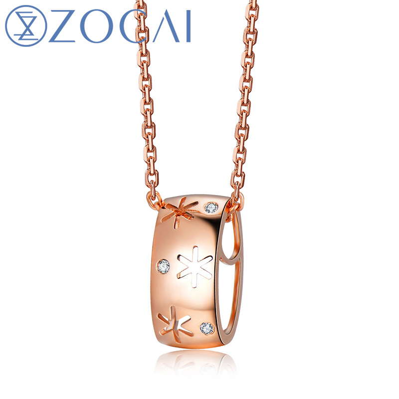 ZOCAI design choker ICE and FIRE Series 0.01 ct real diamond pendant 18K rose gold with 925 silver Chain D80083T