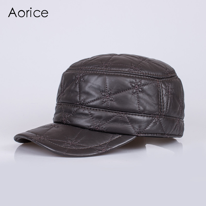 HL082  New New Fashion Men's Scrub Genuine Leather baseball Winter Warm baseball Hat / Cap Winter Cap princess hat skullies new winter warm hat wool leather hat rabbit hair hat fashion cap fpc018