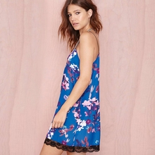 Sweet Retro Tropical Floral Print Sexy women dress Deep V Halter Top Lace Strap Sling Dress