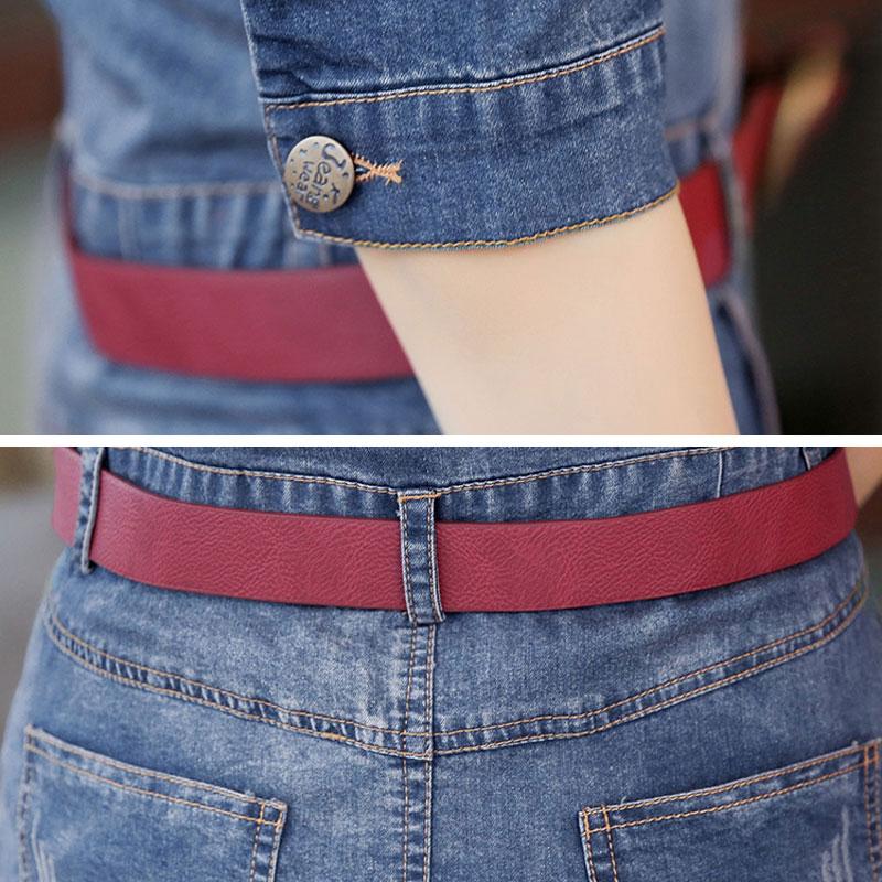3d45f6767f 2018 Spring Denim Dress Women Blue Jean Dresses With Belt Half Sleeve Mid  Calf Slim Vestidos Mujer Summer Casual Femme Robe W173-in Dresses from  Women s ...