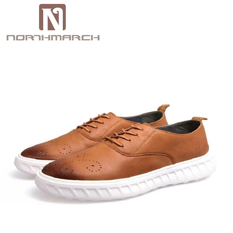 NORTHMARCH Brand Men Comfortable Retro Shoes Winter Top Quality Lace up Shoes Casual Men Leather Autumn Shoes Brown zapatos men loafers shoes needbo brand handsome comfortable top quality men casual shoes genuine leather fashion breathable shoes men