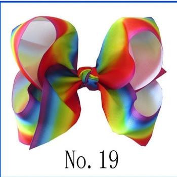 "100 BLESSING National Flag 8"" ABC Hair Bow Clip 3"" Grosgrain Ribbon Rainbow 49#"