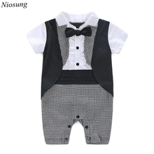 Niosung Handsome Baby Boy Formal Party Short Sleeve Cotton Blended Christening Wedding Tuxedo Waistcoat Bow Tie Suit Kids Child