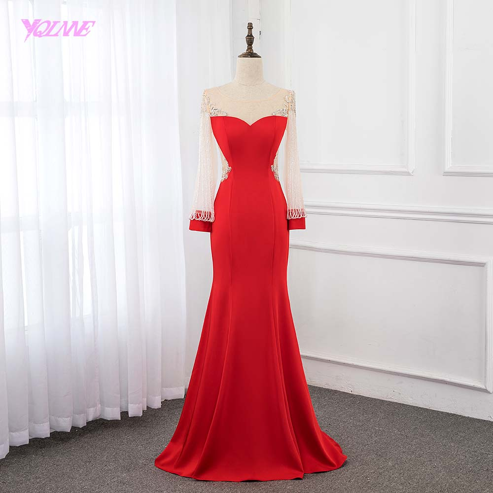 YQLNNE Red Long Sleeve Beading   Evening     Dress   Crystals   Evening   Gown   Dresses   Mermaid 2019