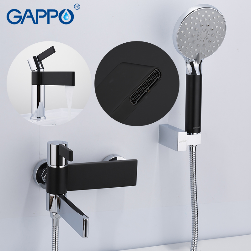 GAPPO Shower System brass water tap chrome and black bathroom faucet mixer shower sets with basin faucet torneira do anheiro gappo shower faucet bath mixer black massage shower faucets bathtub tap sets shower mixer torneira do anheiro shower faucet sets