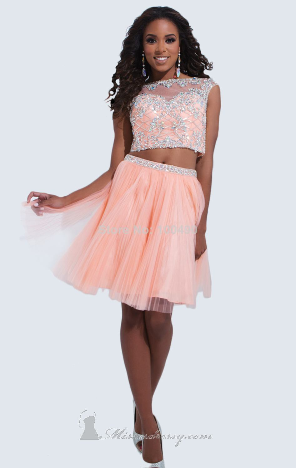 two piece prom dress Light blue Orange High neck beads and crystals ...