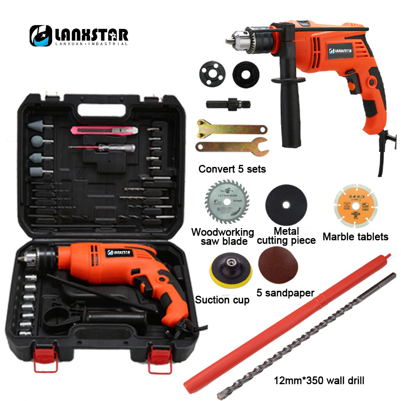 Dual purpose Multifunction 880W Impact Drill Variable Speed Adjustable Industrial Impact Drill Electric Hammer Tool Drills