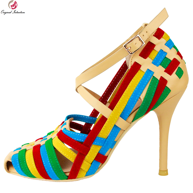 Original Intention Fashion Women Sandals Nice Round Toe Thin High Heels Sandals Nice Multi Colors Shoes
