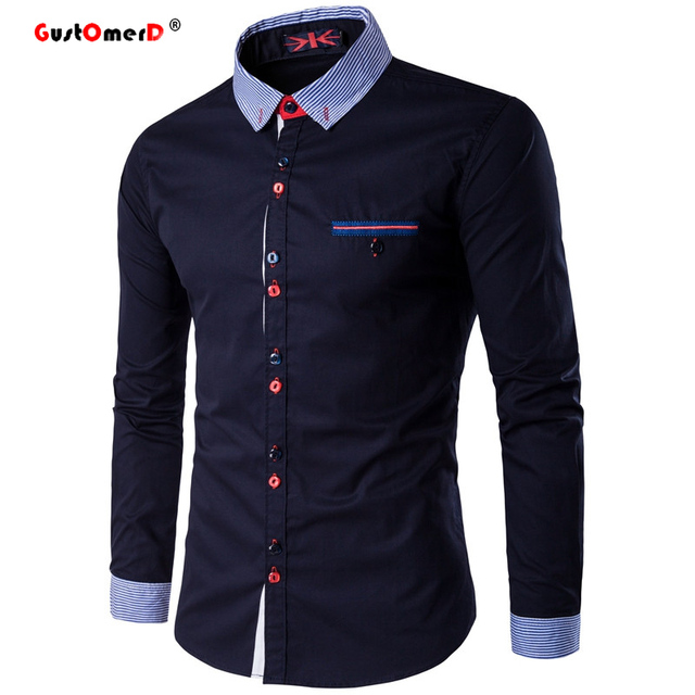 9c3ea7d8 GustOmerD Fashion Unique Button And Neckline Mens Long Sleeve Shirt  Business Social Mens Dress Shirts Slim