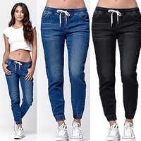 Casual Jogger Hosen 2018 Elastische Sexy Dünne Bleistift Jeans Für Frauen Leggings Jeans Hohe Taille frauen Denim Kordelzug Hosen