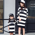 Mother Daughter Dresses clothes Christmas striped Autumn Winter Girls Dress Family Look Matching mother and daughter clothes