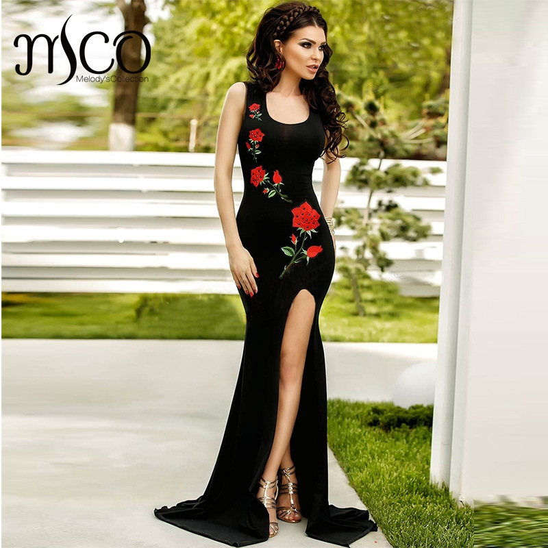 Europe women black Party dress embroidery roses pattern Floor length Slits side Long Sexy bodycon Thin Occasion Dress